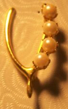 Horseshoe Brooch Pin Gold Tone Pearls Faux