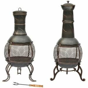 Steel Chiminea Fire Pit Outdoor Garden Patio Heater BBQ Charcoal Black Gold