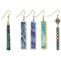 Fashion Drop Bar Earrings Abstract Mood Watercolors in Silver and Gold Finishes
