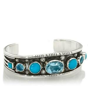Chaco Canyon Couture Kingman Blue Turquoise and Blue Topaz Drop Cuff Bracelet