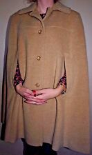 VTG PENDLETON 100% Virgin Wool Cape Coat Brown Beige Camel M 3 4 Button Womens