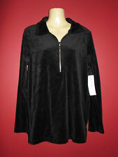 Jones New York Sport Women's Black Velour 1/2 Zip Sweater - Size Small - NWT $69