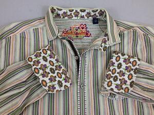 Robert Graham Men Dress Shirt 2XL Multi-Color Stripes W/ Paisley Design-VGC