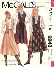 Vintage 1982 McCall's Sewing Pattern # 8243 Misses Vest Skirt and Culottes Sz 6