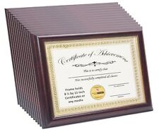 12 Pack 8.5x11 Mahogany W/ Gold Inlay Certificate Frame W/ Stand and Wall Hanger