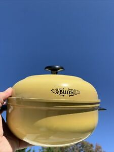 "Vintage MIRRO Hotdog Hamburger Bun Warmer Aluminum HARVEST WHEAT GOLD 11"" ❤️sj3j"