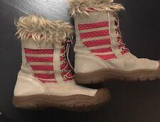 Keen Youth Girls Pink Tan Suede Faux Fur Wapato Waterproof Winter Snow Boot 4 Y