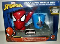 Marvel SPIDER-MAN Amazing Smile Travel TOOTHBRUSH Rinse Cup Holder Kids GIFT SET