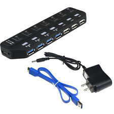 7 Port Super Speed 5 Gbps USB 3.0 + USB 2.0 Hub mit Netzteil für PC New Schwarz