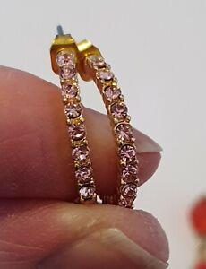 Pink Diamante Half Hoop Earrings