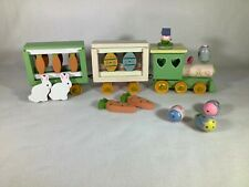 Wooden Easter Train with Eggs, Rabbits and Carrots
