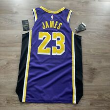 Authentic NIKE LOS ANGELES LAKERS LEBRON JAMES Purple Jersey 44 AJ5197 505