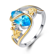 Solitaire Gift Marquise Cut Blue Topaz Gemstone Silver Fashion Ring Size L N P R