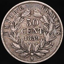 More details for 1859 a | france napoleon iii 50 centimes | silver | coins | km coins