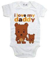"Dirty Fingers ""I Love My Daddy"" Teddy Bears Baby Bodysuit Baby grow Father's Day"