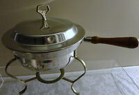 VINTAGE STAINLESS STEEL 3 PIECE CHAFING DISH BOWL WITH WOOD HANDLE FOOD WARMER
