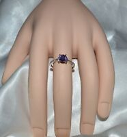 1.08ct NATURAL GENUINE LAVENDER AMETHYST  SIZE 5.5 IN STERLING SILVER RING