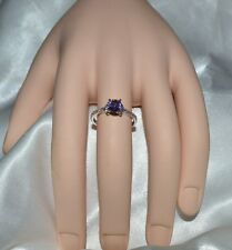 1.08ct Natural Original Lavanda Amatista Size 5.5 Plata de Ley 925 Anillo