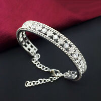 Silver Plated Crystal Rhinestone Flower Bangle Bracelet For Women Charm Jewelry