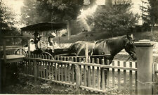 STREET SCENE WITH WOMAN, THREE CHILDREN IN HORSE-DRAWN CARRIAGE ca 1900's PHOTO