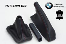 Leather gear stick gaiter boot + handbrake + handle BMW E30 83-91 M stitch SET !