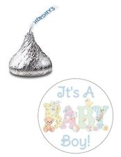 108 ITS A BOY PASTEL BABY SHOWER HERSHEY KISS KISSES CANDY STICKERS ***