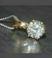 "1.00 Carat 6.5 mm White Round Diamond Pendant 18"" Necklace 14K Yellow Gold GP"