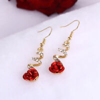 AM_ AM_ Women Fashion Red Rose Drop Rhinestone Spiral Dangle Hook Earrings Jewel