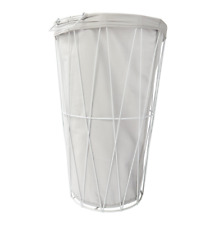 White Laundry Washing Basket with Removable Liner Hamper Clothing Toy Storage