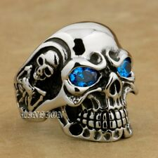 316L Stainless Steel Blue CZ Eyes Titan Skull Mens Boys Biker Rock Ring 3A201B