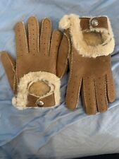 Women UGG Shearling Lined Sheepskin Suede Leather Gloves Chestnut  Size L