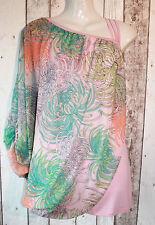 Blusa nuevo talla M 40 42 asimétrico geblümt Locker Print rosa turquesa elegante