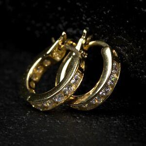 Mens Small Vermeil Iced One Row Cz Gold Sterling Silver Huggie Hoop Earrings