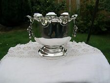 Hallmarked Solid Silver Monteith Style Pedestal Bowl with Lion Mask Handles