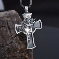 Men Stainless Steel Gold Plated JESUS CROSS Pendant Necklace Black Chain Jewelry