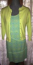 Crown Ivy Sweater Zen Knits Dress Aqua Blue Lime Green Outfit M