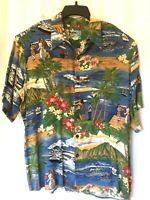 Reyn Spooner Hawaiian Traditionals Shirt Button Short Sleeve Aloha Plane Hula L