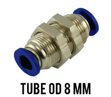 1 Lot of 6 Pneumatic Bulkhead Union (Connector) Push In Fitting Tube Od 8 mm