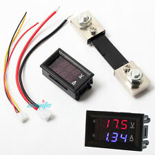 LED Voltage Current Dual Display 100V AMP 12V 24V DC Volt Meter 100A Shunt Solar