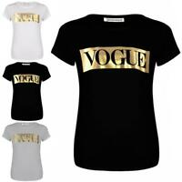 Ladies Womens Short Sleeve Vogue Gold Foil Slogan Print Summer Jersey T-Shirt