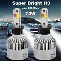 2pc 6500K COB H3-S2 8000LM 72W LED White Car Headlight Fog Light Lamp Bulb