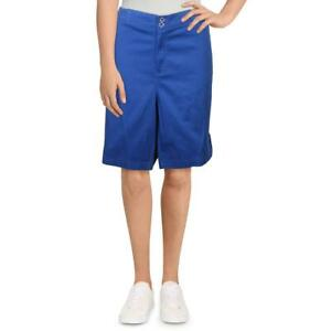 Karen Scott Womens Solid Khaki Convertible Bermuda Shorts Plus BHFO 4945
