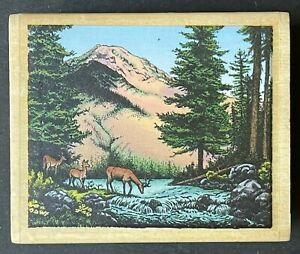 Mountain Forest Nature Deer Pine Trees Stream Landscape View Wood Rubber Stamp