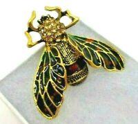 Bee brooch green purple enamel amber rhinestone vintage style in gift box