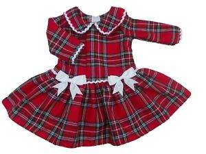 BNWT Baby girls toddler Christmas party tartan dress with white bows Made in UK