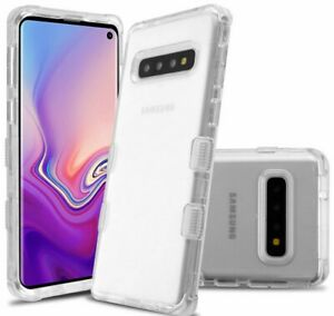 For Samsung Galaxy S10 - Hard Hybrid Armor Impact Case Cover Transparent Clear
