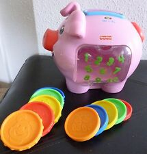 Fisher-Price PINK toddler toy: PIGGY BANK, complete w 10 COINS, retired EUC