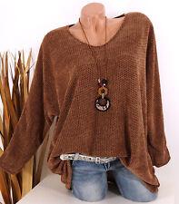 Italy Pullover Strickpullover Damen Kette 40 42 44 Oberteil Oversize zimt braun