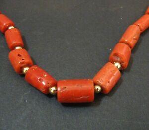 Dark Salmon Orange 16-inch Coral Choker Necklace - barrel beads