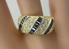 18K Yellow Gold Blue Sapphire Stripe and Diamond Pave Ring Band